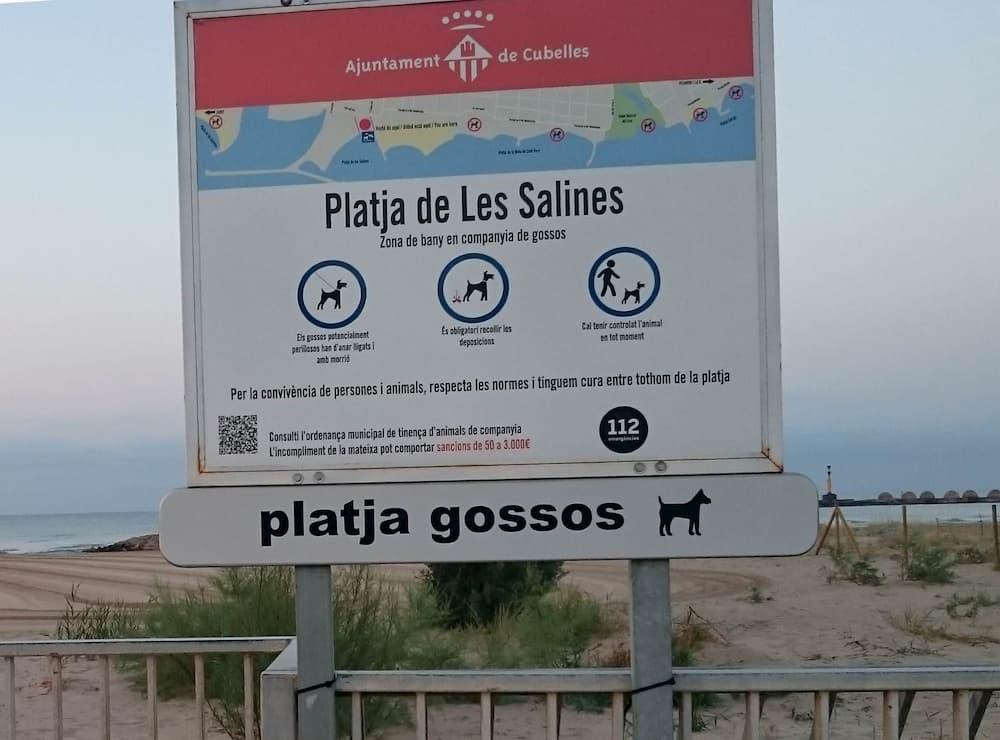 Cartel playa de perros cubelles
