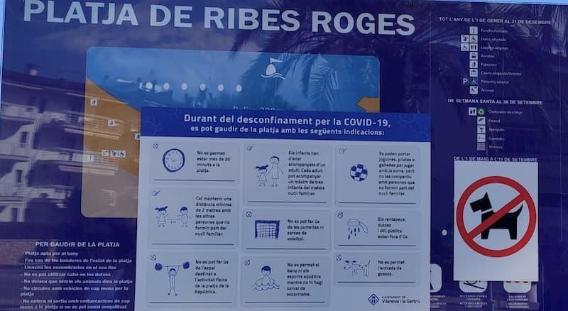 Normativa para el COVID playa Ribes Roges de Vilanona i la Geltrú