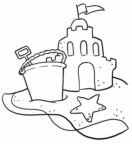 Castillo de arena para colorear