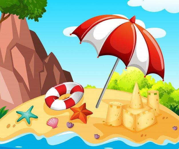 Dibujo de la playa para colorear